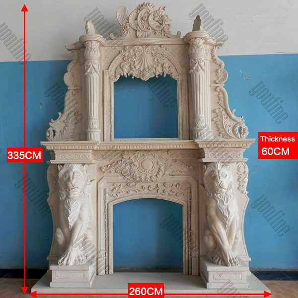 Custom Made Large White Marble Overmantel Fireplace Surround with Lion for Sale
