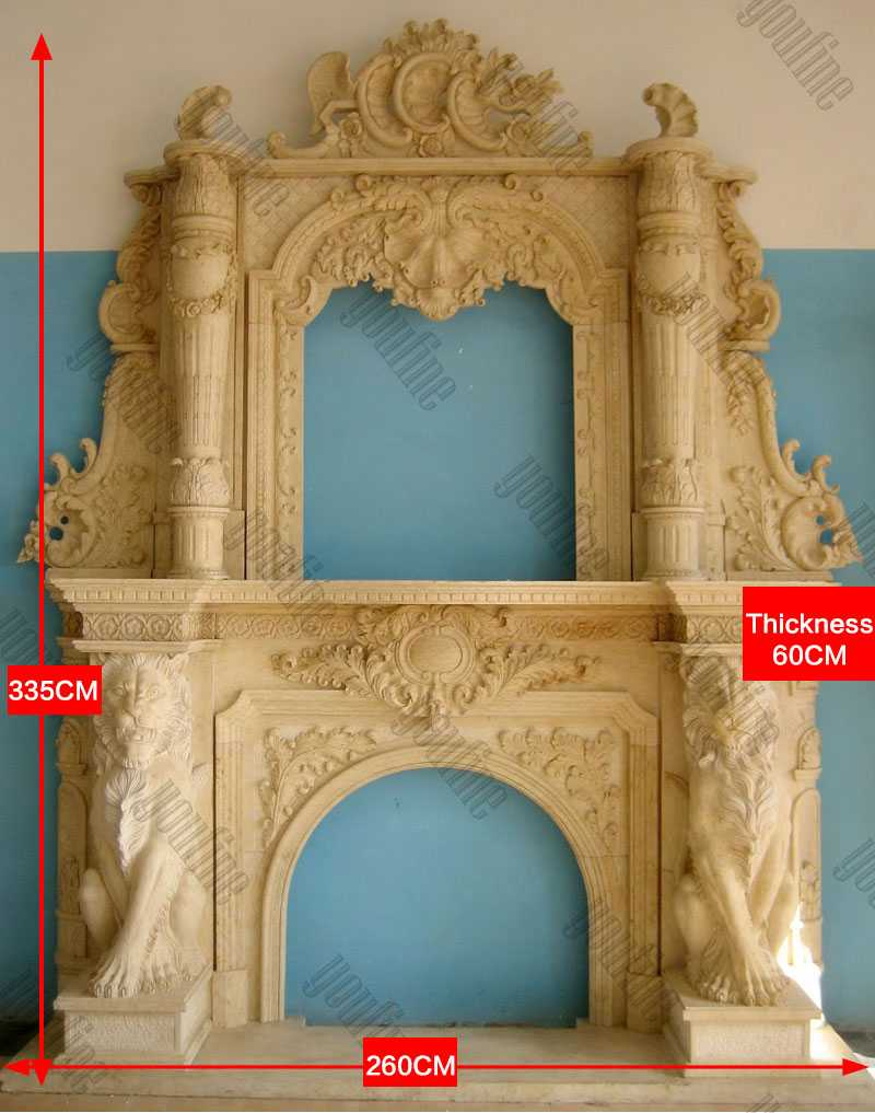 Custom Made Large White Marble Overmantel Fireplaces Surround with Lion Designs for Sale