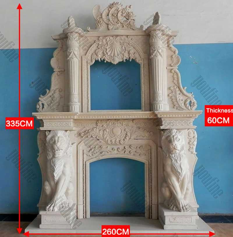 Custom Made Large White Marble Overmantel Fireplaces Surround with Lion for Sale