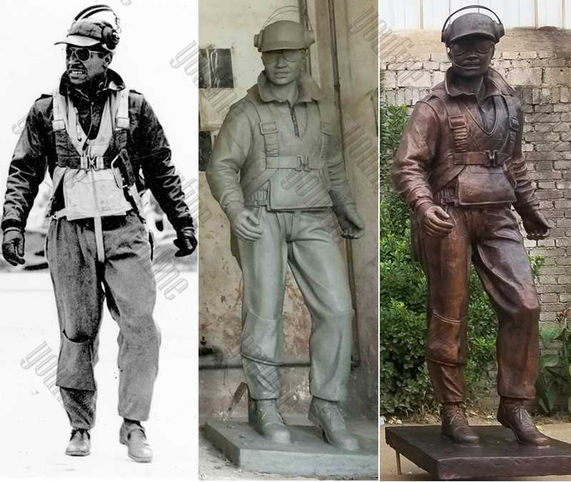 Custom Made Madetuskegee Airmen Statues Monument Replica Life Size Bronze Statues Commission for Our American Friend for Sale