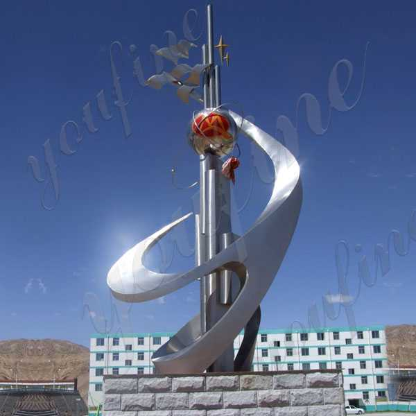 Custom Made Mirror Polished Large Contemporary Stainless Steel Outdoor Sculptures for Sale for Roundabout UAE CSS-66