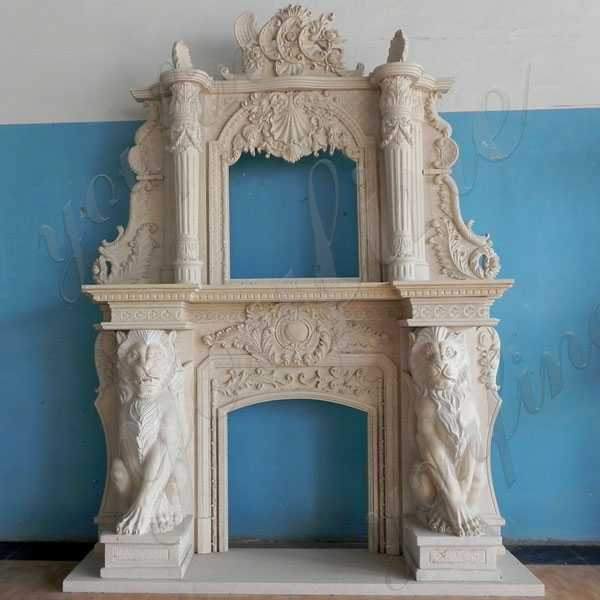 Custom Made Modern Large White Marble Overmantel Fireplace Surround with Lion Designs for Sale MOKK-173