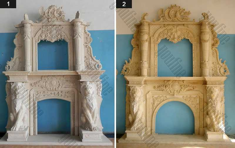 Custom Made Modern Large White Marble Overmantel Fireplaces Surround with Lion Designs for Sale