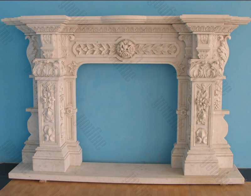 Custom Made Ornate Marble Fireplace Cast Stone Fireplace Surround Design for Sale