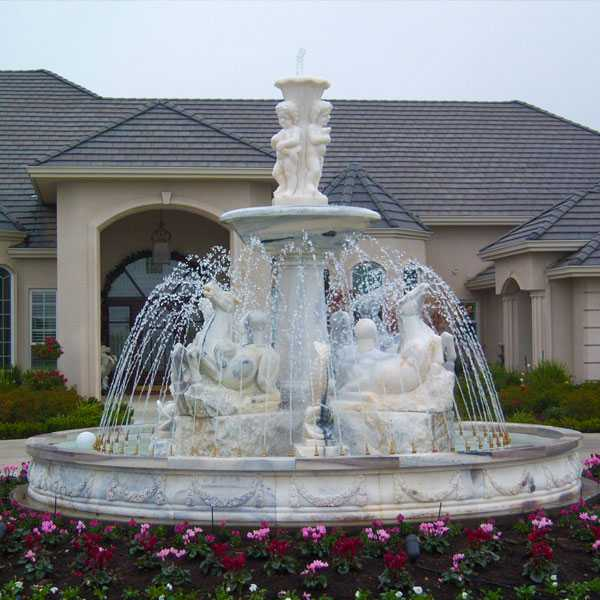 Custom Made Outdoor Tiered White Marble Water Fountain with Horse and Figure Statue for Sale MOKK-174