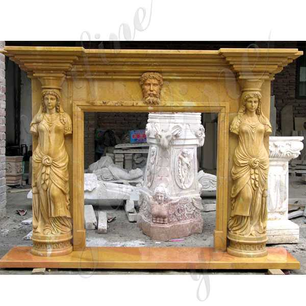 Custom Outdoor Yellow Marble Fireplace Life Size Antique Fireplace Mantels with Woman Statue Carved Design for Sale--MOKK-135