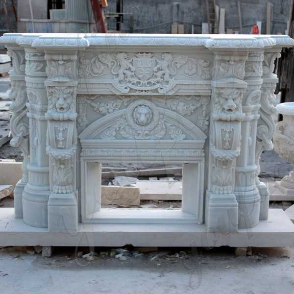 Custom made white marble fireplace mantels for sale craigslist modern stone fireplaces--MOKK-129