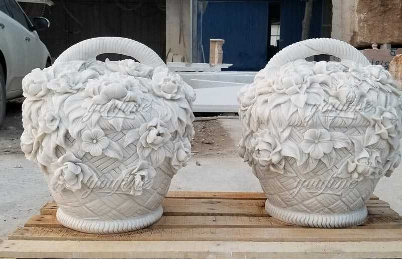 Elegant appearance outdoor garden decoration hand carved marble stone flower basket for sale