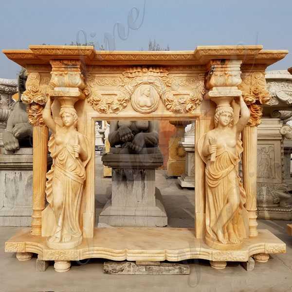 Expensive antique fireplace mantels natural stone yellow fireplace surround outdoor garden decor for sale craigslist--MOKK-132