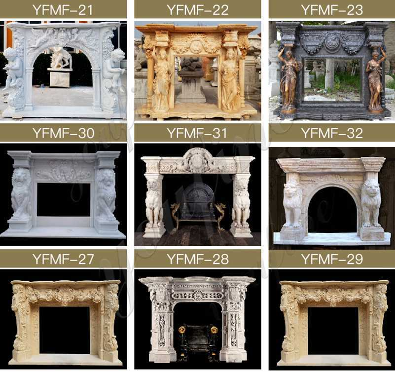 French Fireplace Mantels with Figure Statues for Sale