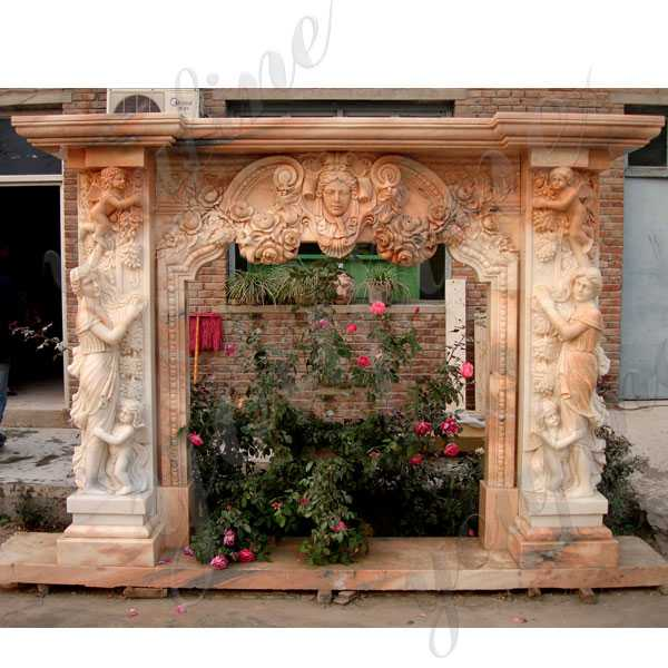 Hand Carved Modern French Yellow Marble Fireplace Mantels with Figure Statues for Sale MOKK-134