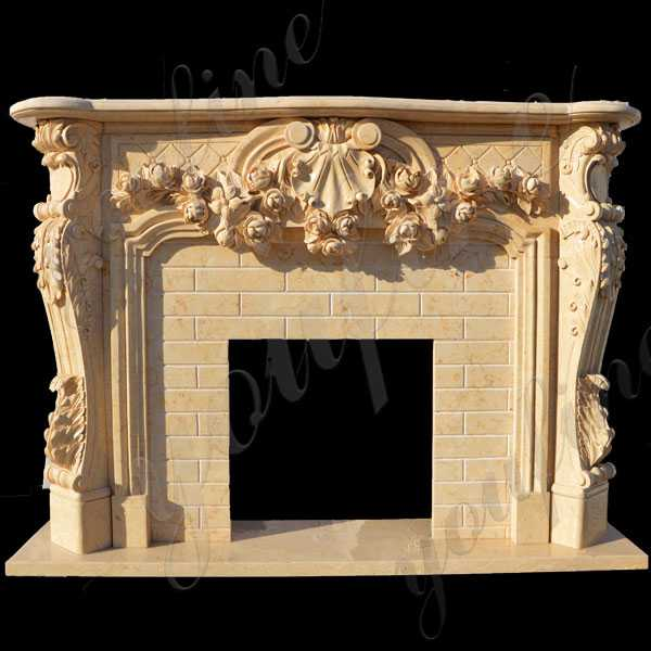 Hand Craft Yellow Marble Leaf And Scroll Marble Fireplace Design Cast Marble Fireplace  for Sale–MOKK-139