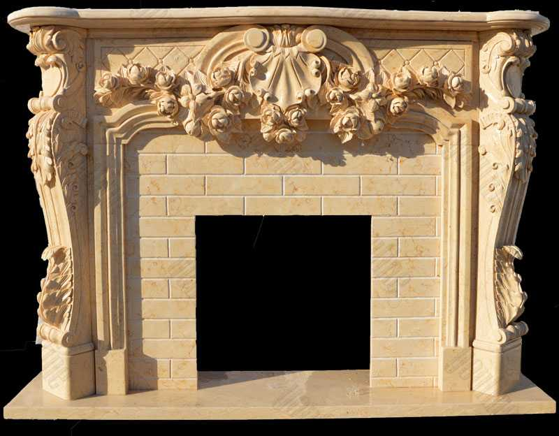 Hand Craft Yellow Marble Leaf And Scroll Marble Fireplace Design Cast Marble Fireplace for Sale--MOKK-139
