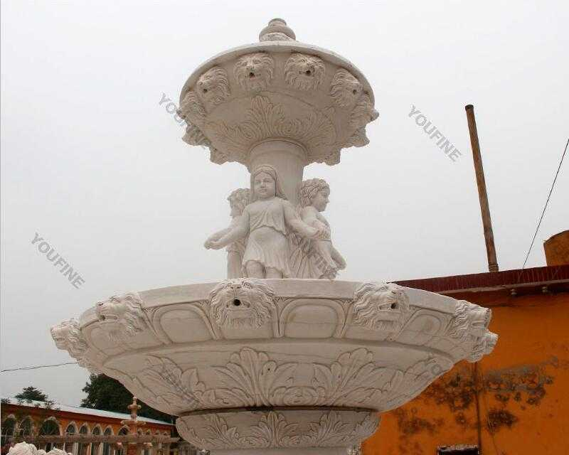 Hand carved 3 tiered pure white marble fountain with figure statues design for sale for front yard decoration