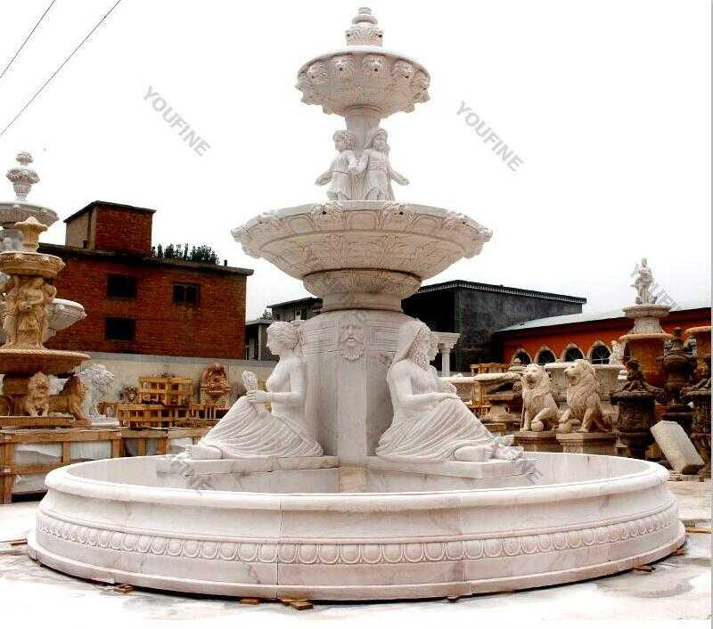 Hand carved 3 tire pure white marble fountain with figures statues design for sale for front yard decor