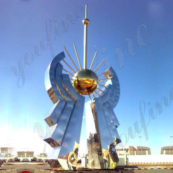 High Polished Metal Outdoor Sculptures Large Stainless Steel  Sculptures for Sale for Roundabout UAE CSS-71