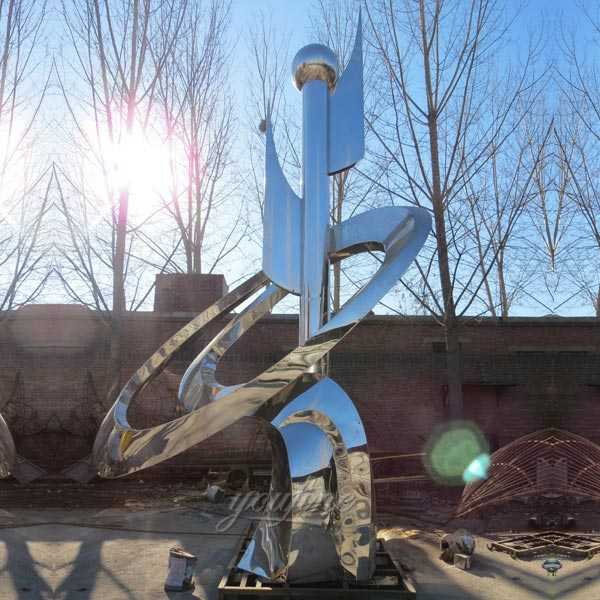 High polished mirror outdoor large modern metal sculpture for our Saudi Arabia customer