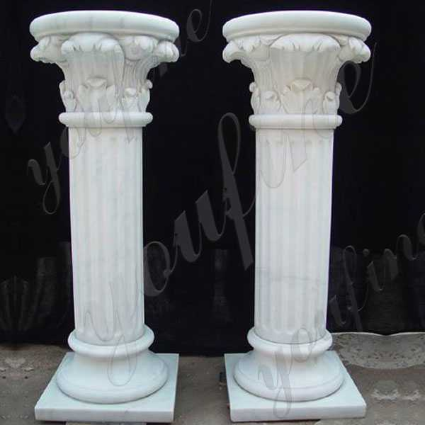 Home depot cheap wedding columns pure white marble pillar ideas for gates decoration for sale MOKK-160