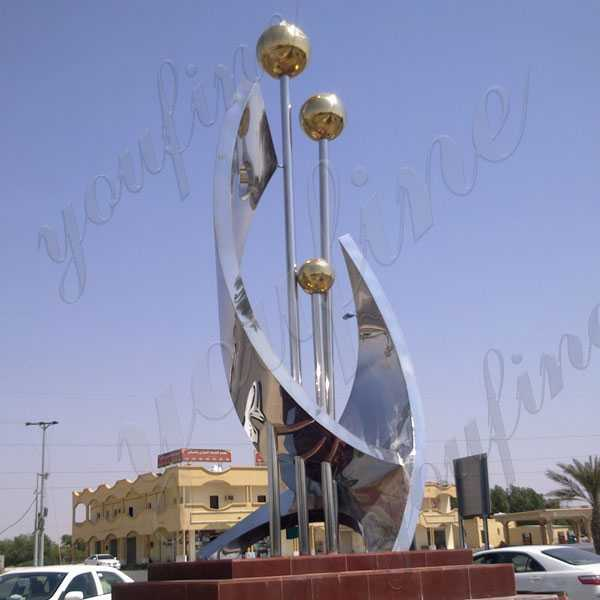 Large Metal Sculptures for Sale High Polished Stainless Steel Sculpture for Square Project Design for Sale CSS-73