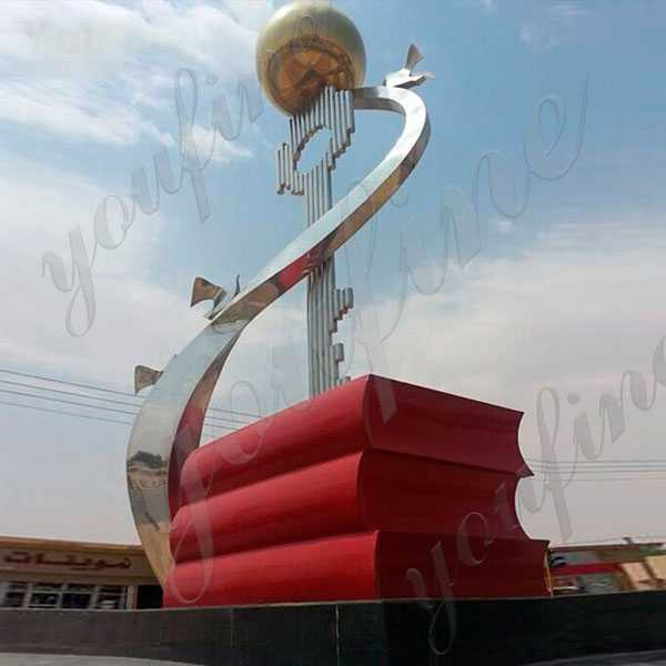 Large Outdoor Sculptures for Sale Contemporary Square Decor Stainless Steel Sculpture For Sale UAE CSS-74