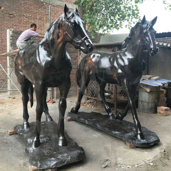Large Two Black Standing Horse Garden Ornamental Statue Vintage Bronze Horse Design for Sale BOKK-558