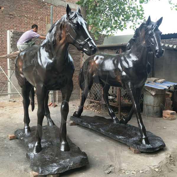 Large Two Black Standing Horse Garden Ornamental Statue Vintage Bronze Horse Design for Sale BOKK-558