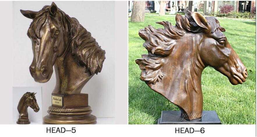 Large bronze art horse head statues for garden ornaments