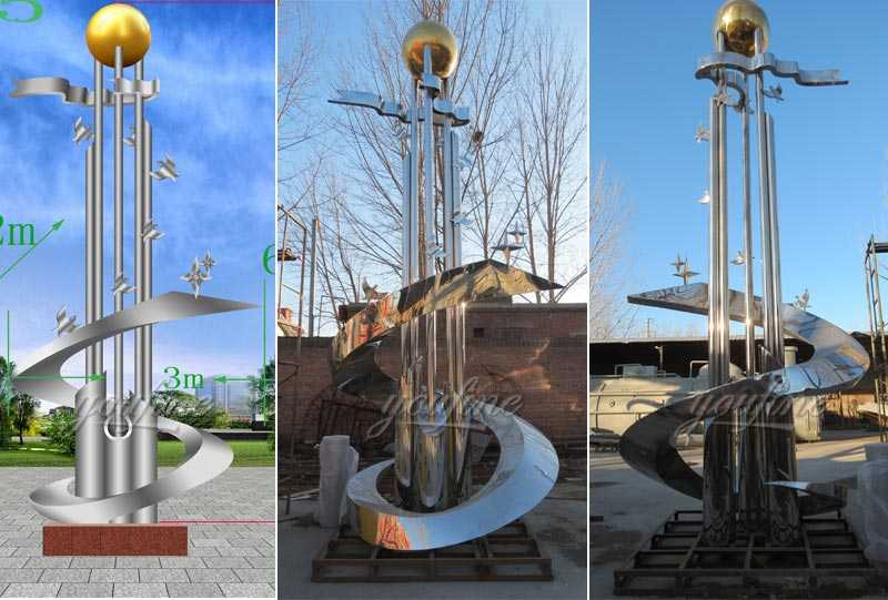 Large outdoor mirror high polished abstract stainless steel roundabout sculptures design for sale