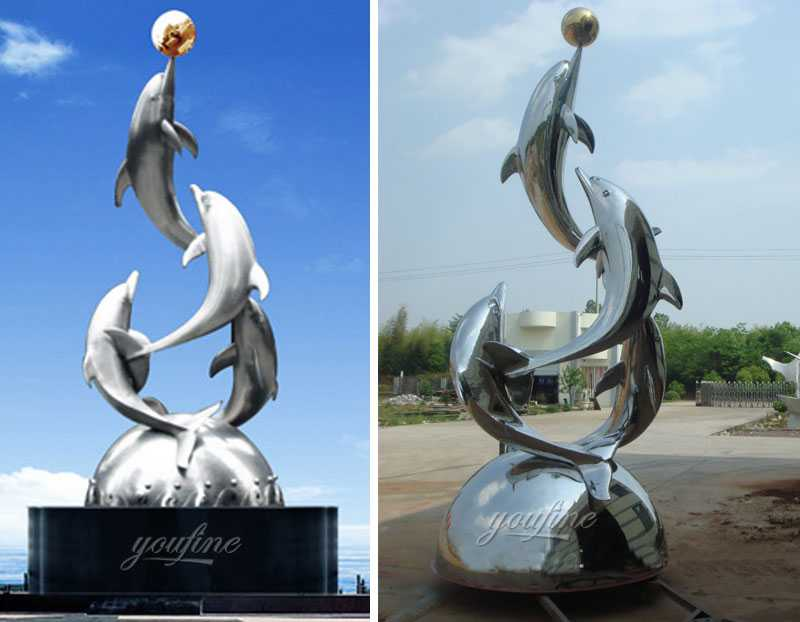 Large outdoor mirror polished metal fish art of stainless steel four dolphins sculpture design for sale