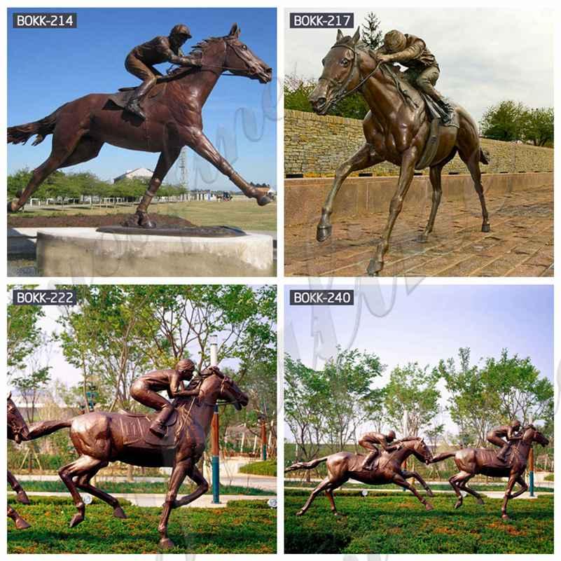 Life Size Bronze Racing Horse with Jockey Statue