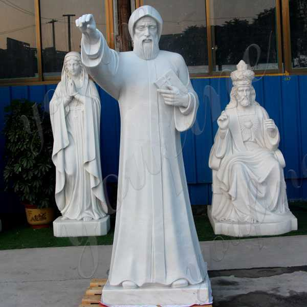 Life Size Catholic Church White Marble Saint Charbel with Bible Designs for Sale CHS-713