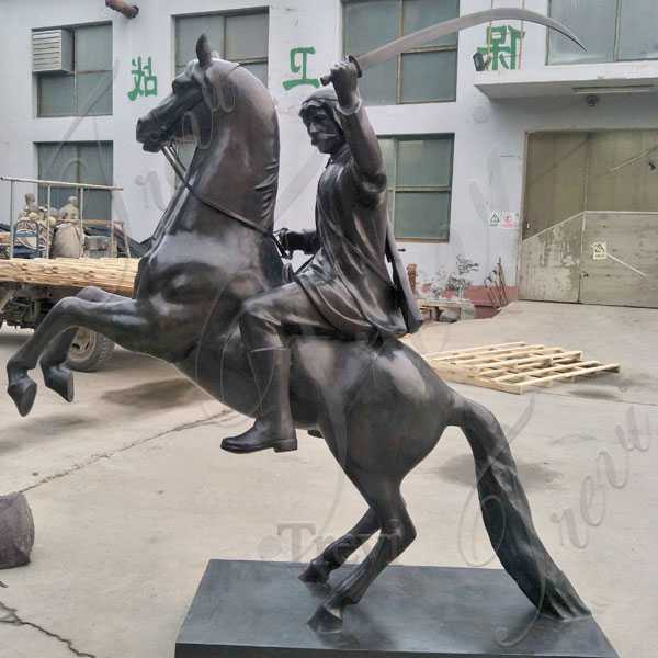 Life Size Custom Knight Riding on Rearing Horse Statue in Antique Bronze for Front Door Entrance Decor for Sale  BOKK-557