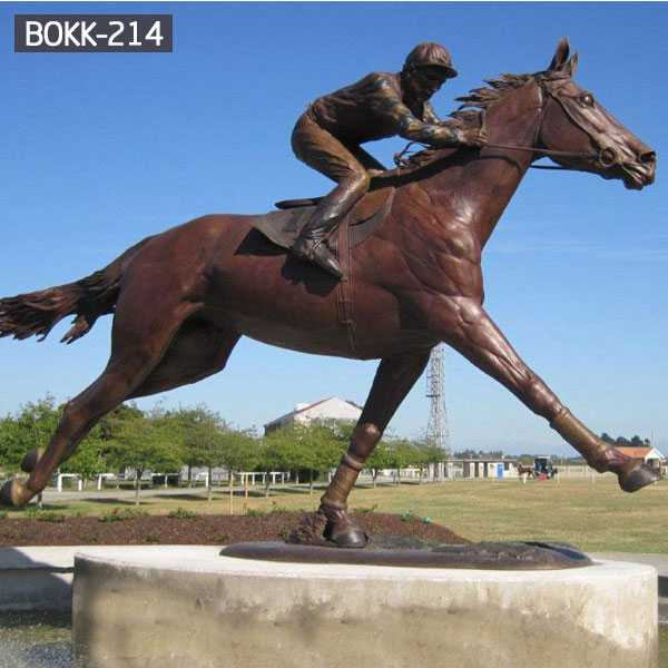 Life Size Custom Made Bronze Racing Horse with Jockey Statue Design Horse Garden Sculpture for Sale–BOKK-214