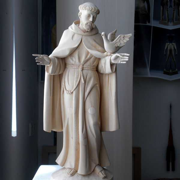 Life Size Religious Statues Catholic St Francis Marble Garden Statue Bird Feeder Design for Sale CHS-711