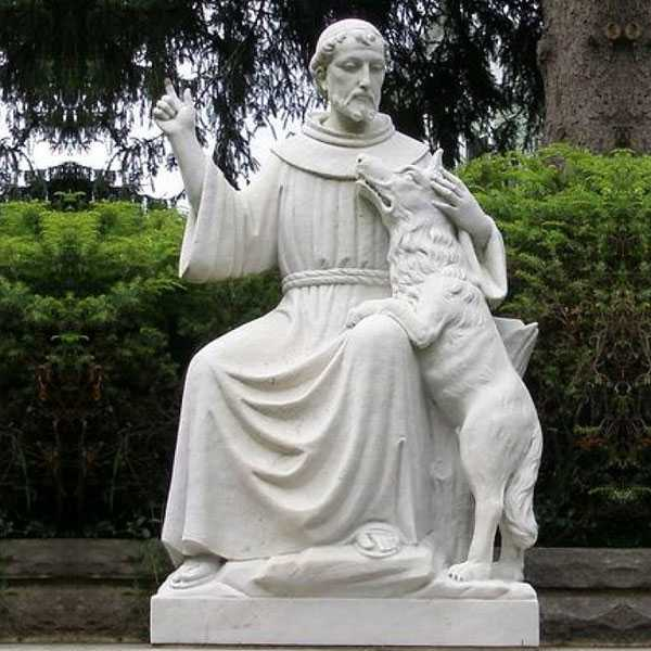 Life Size White Marble Saint Garden Statues Outdoor St Francis with Wolf Statue Design Replica for Sale CHS-710