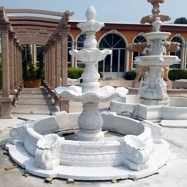 Life size beautiful hot selling pure white 3 tiered outdoor marble fountain garden water fountain for sale--BOKK-96