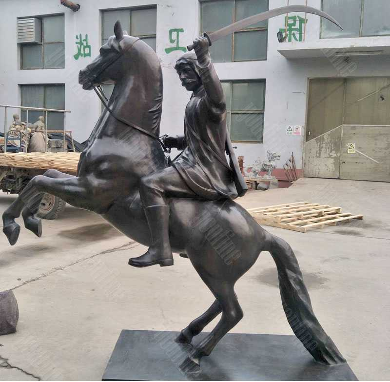 Life size custom knight on horse statue in antique bronze for front door entrance decor