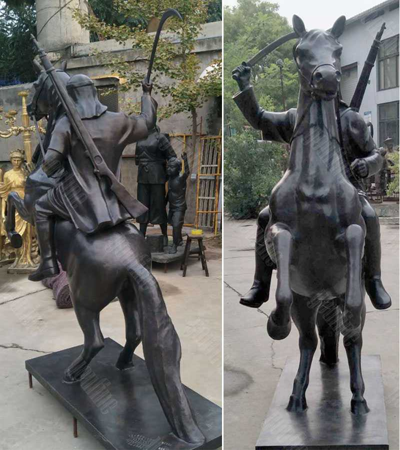 Life size custom knight on horse statue in antique bronze for sale