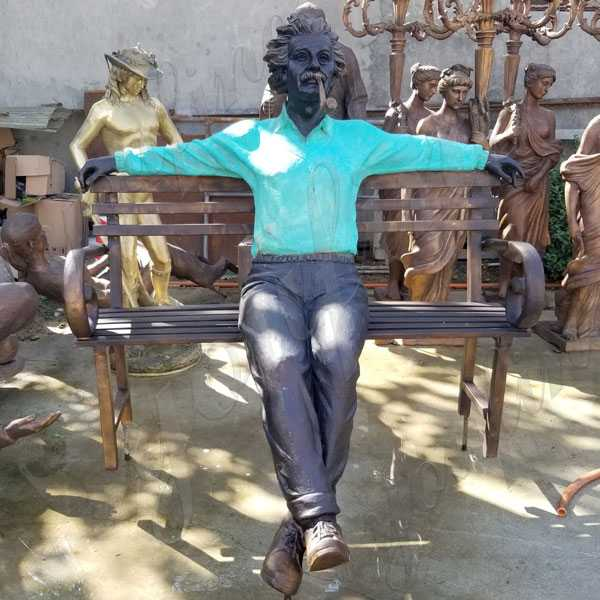Life size famous bronze Albert Einstein Statue Art design replica for sale modern figure statue for garden decor BOKK-581
