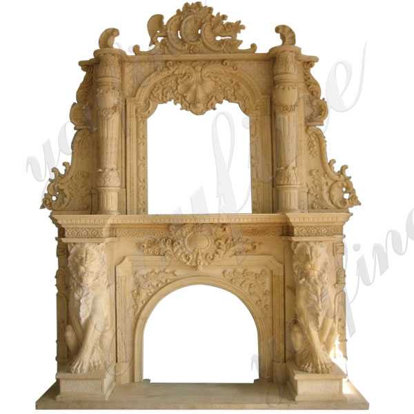 Luxurious Yellow Ornate Marble Lion Overmantel Fireplace Surround for Sale–MOKK-144