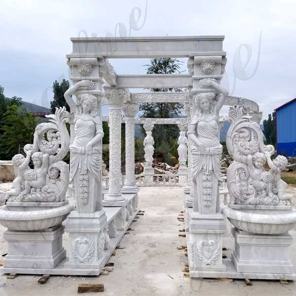 Luxury Hand Carved Pure White Marble Gazebo Designs for Backyards Large Gazebo for Sale from Factory Supply MOKK-172