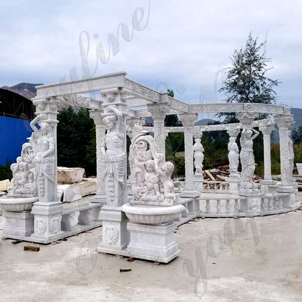 Luxury hand carved pure white marble gazebo designs for backyards large gazebo for sale from factory supply