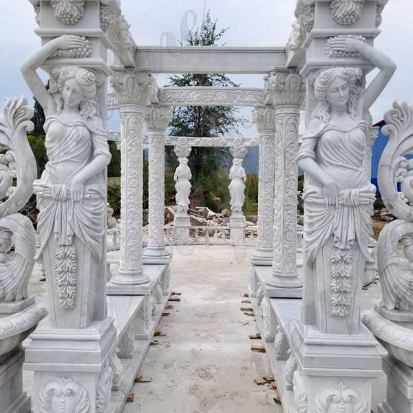 Luxury hand carved pure white marble gazebo designs for backyards large gazebo for sale