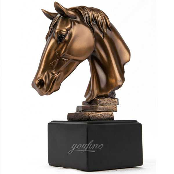 Metal bronze polished horse head bust statues for home decor