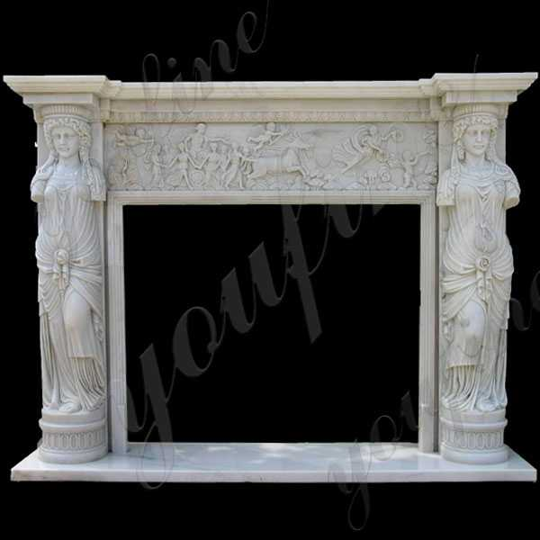 Modern Cheap Natural Stone Fire Surround Cast Marble Fireplace Mantel Design for Sale--MOKK-141
