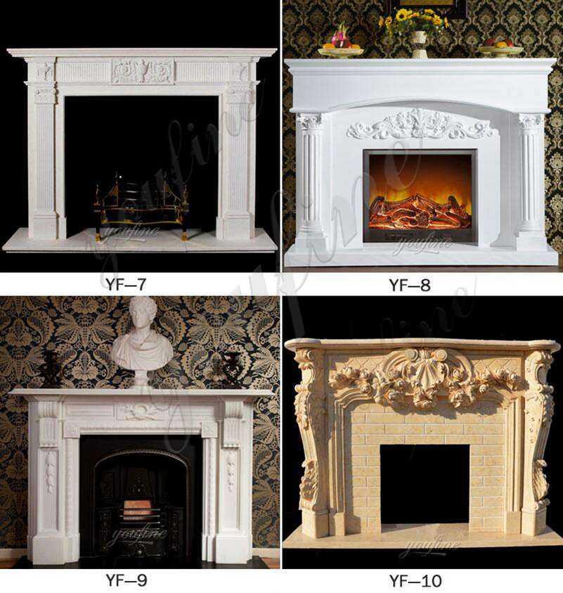 Modern Custom Made White Marble Fireplace Mantels