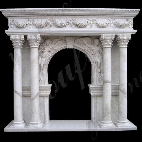 Modern Four Pillar White Cream Marble Mantel Design Custom Made Fireplace Mantels for Sale-MOKK-146