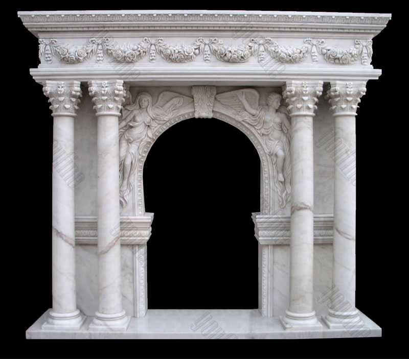 Modern Four Pillar White Cream Marble Mantel Design Custom Made Fireplace Mantels for Sale