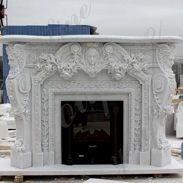 Modern Custom Made Fireplace White Marble Fireplace Surround Design for Sale–MOKK-128