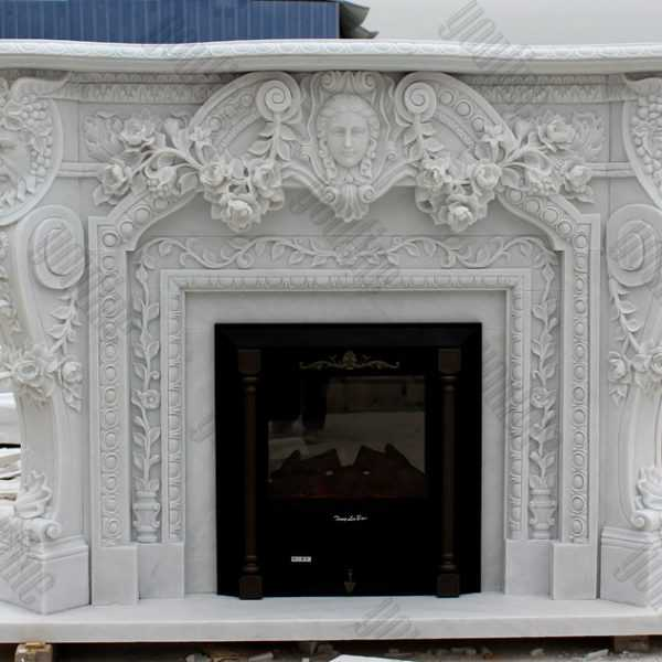 Modern custom made fireplace white marble fireplace surround designs for sale
